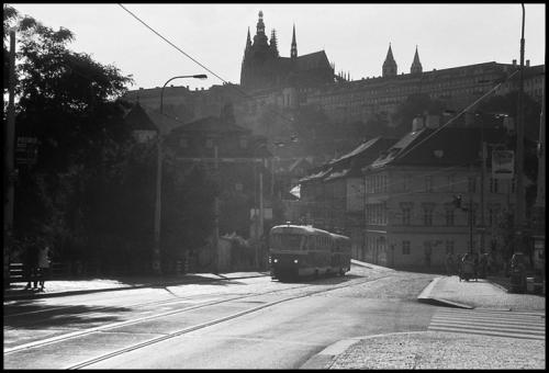 Prague Castle and tram